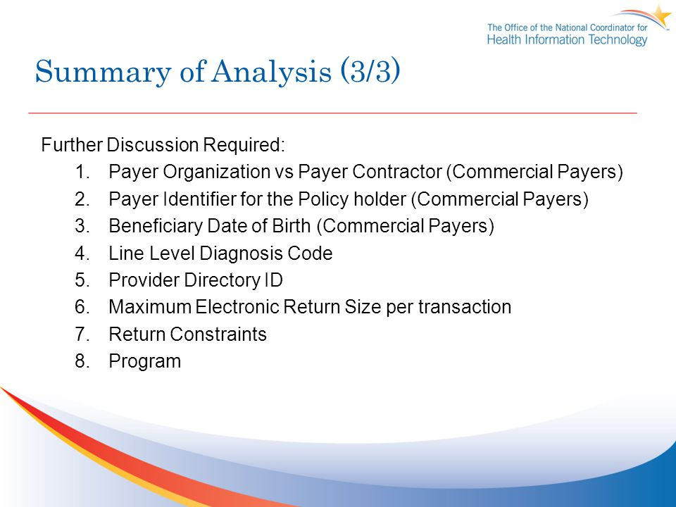Summary of Analysis (3/3) Further Discussion Required: 1.Payer Organization vs Payer Contractor (Commercial Payers) 2.Payer Identifier for the Policy holder (Commercial Payers) 3.Beneficiary Date of Birth (Commercial Payers) 4.Line Level Diagnosis Code 5.Provider Directory ID 6.Maximum Electronic Return Size per transaction 7.Return Constraints 8.Program