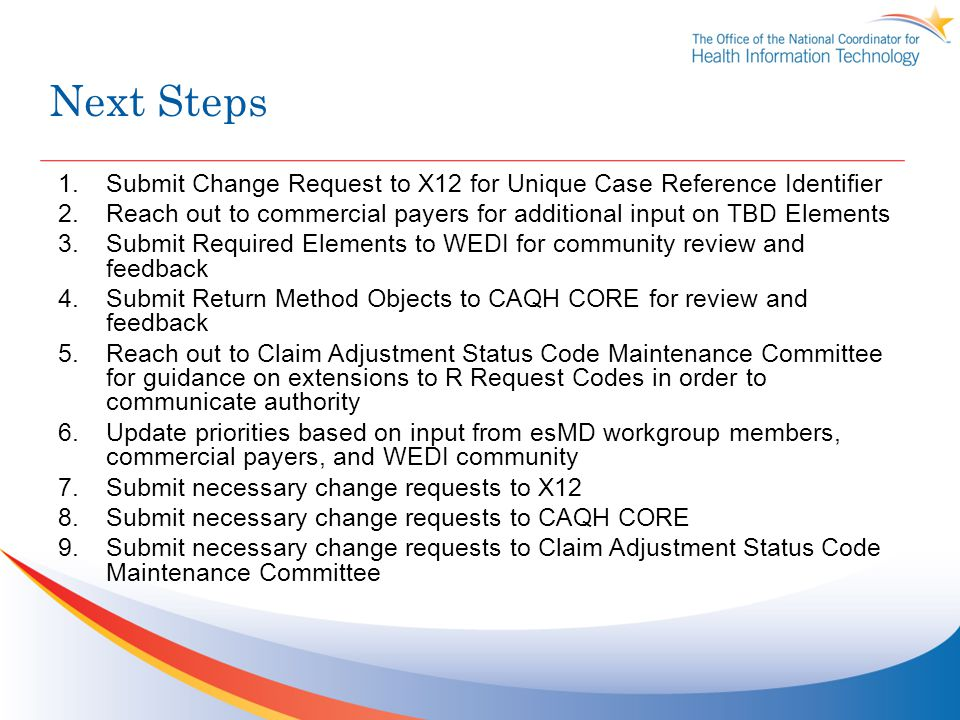 Next Steps 1.Submit Change Request to X12 for Unique Case Reference Identifier 2.Reach out to commercial payers for additional input on TBD Elements 3.Submit Required Elements to WEDI for community review and feedback 4.Submit Return Method Objects to CAQH CORE for review and feedback 5.Reach out to Claim Adjustment Status Code Maintenance Committee for guidance on extensions to R Request Codes in order to communicate authority 6.Update priorities based on input from esMD workgroup members, commercial payers, and WEDI community 7.Submit necessary change requests to X12 8.Submit necessary change requests to CAQH CORE 9.Submit necessary change requests to Claim Adjustment Status Code Maintenance Committee