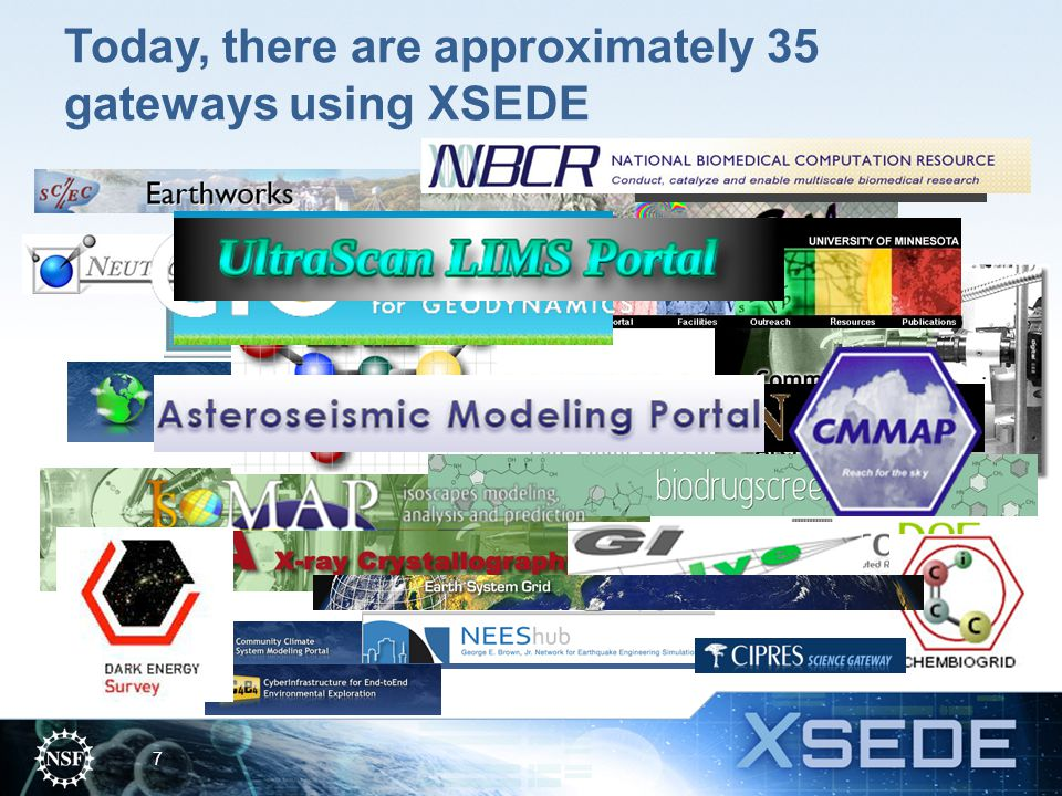 Today, there are approximately 35 gateways using XSEDE 7