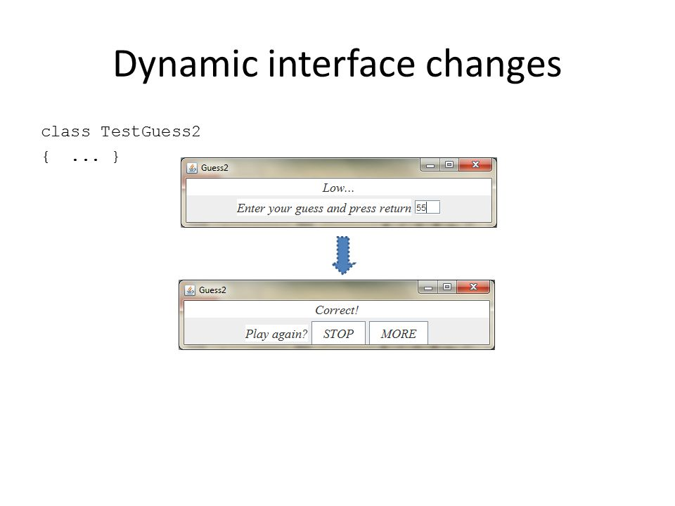Dynamic interface changes class TestGuess2 {... }