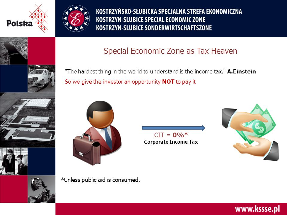 Special Economic Zone as Tax Heaven CIT = 0%* Corporate Income Tax *Unless public aid is consumed.