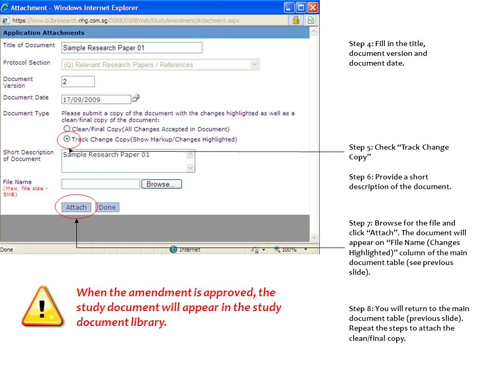 Step 5: Check Track Change Copy Step 4: Fill in the title, document version and document date.