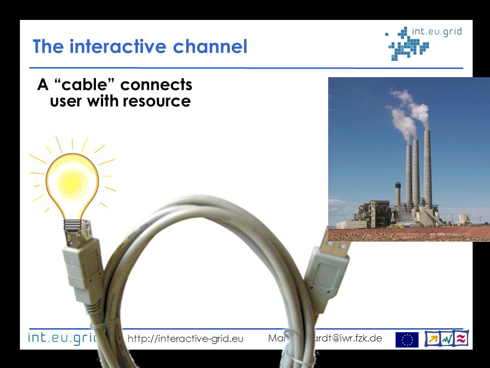 http://interactive-grid.eu Marcus.Hardt@iwr.fzk.de The interactive channel A cable connects user with resource