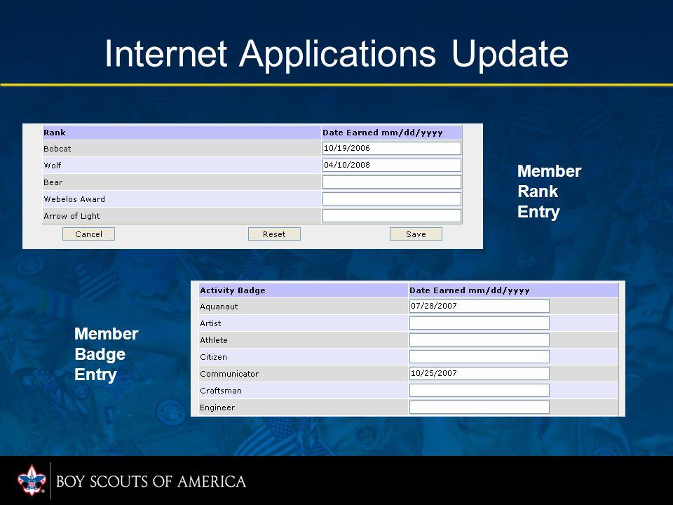 Internet Applications Update Member Rank Entry Member Badge Entry