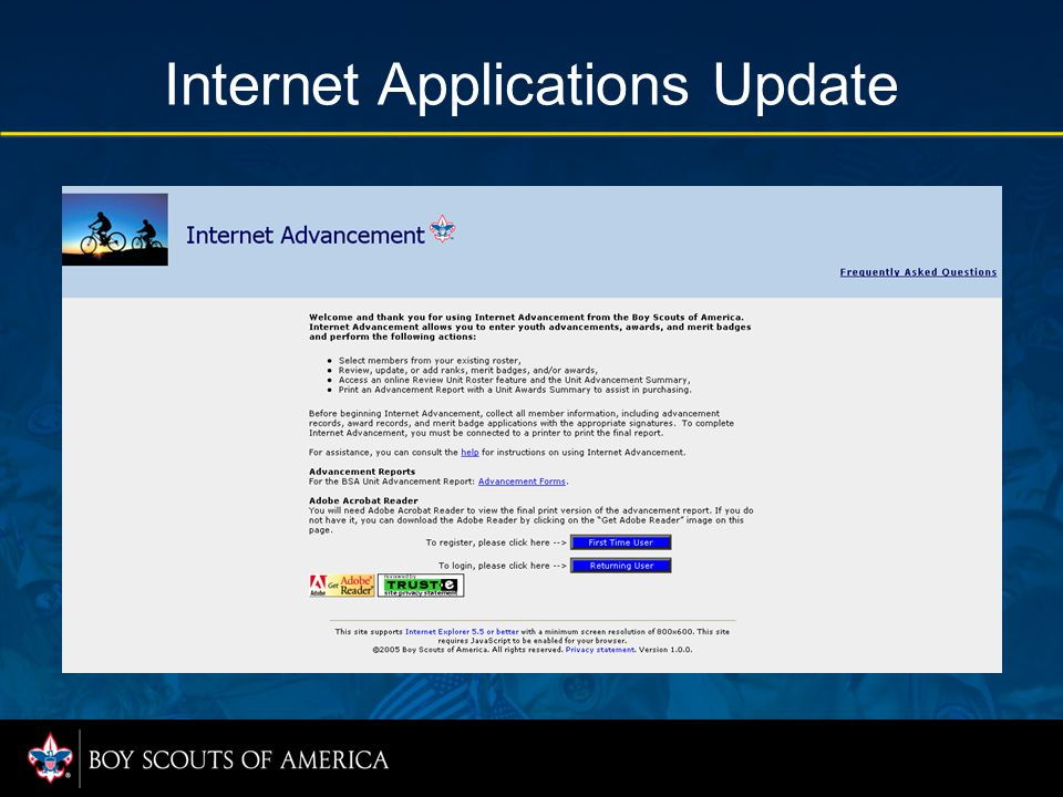 Internet Applications Update For each new advancement report submitted, the user is offered the option to complete survey comments; the saved comments are made available to the council.