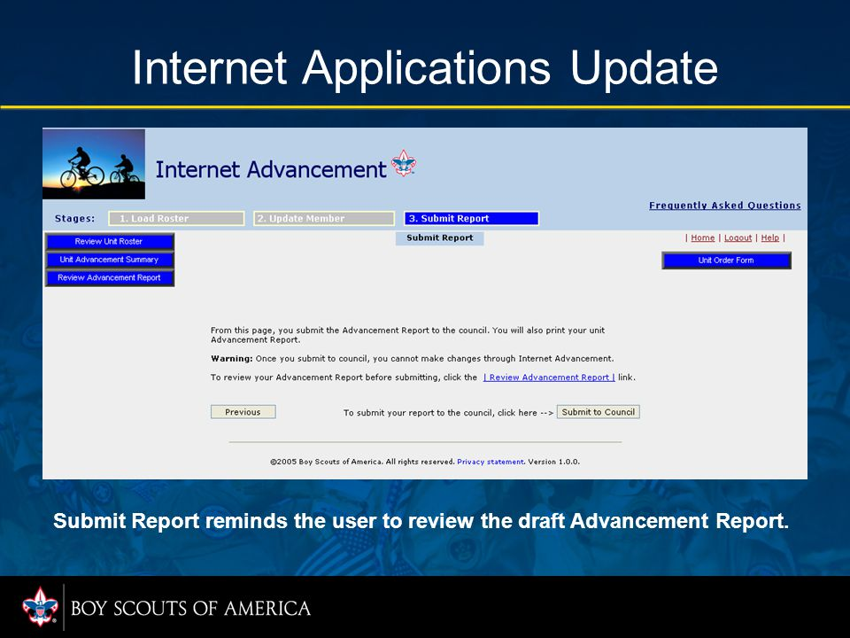 Internet Applications Update Submit Report reminds the user to review the draft Advancement Report.