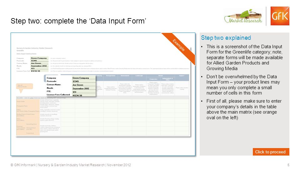 5 © GfK Informark | Nursery & Garden Industry Market Research | November 2012 Step two explained This is a screenshot of the Data Input Form for the Greenlife category; note, separate forms will be made available for Allied Garden Products and Growing Media Don't be overwhelmed by the Data Input Form – your product lines may mean you only complete a small number of cells in this form First of all, please make sure to enter your company's details in the table above the main matrix (see orange oval on the left) Step two: complete the 'Data Input Form' Click to proceed Example