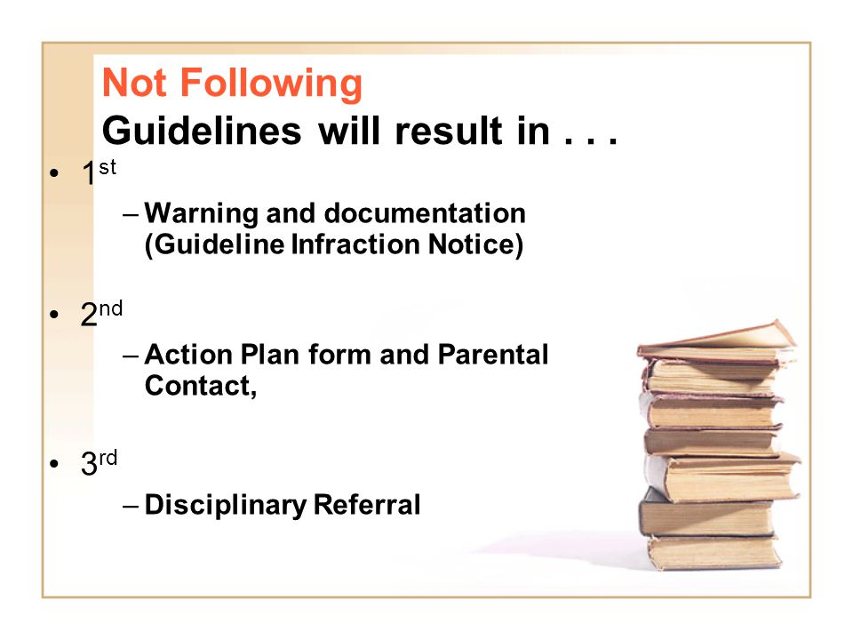 Not Following Guidelines will result in... 1 st –Warning and documentation (Guideline Infraction Notice) 2 nd –Action Plan form and Parental Contact,