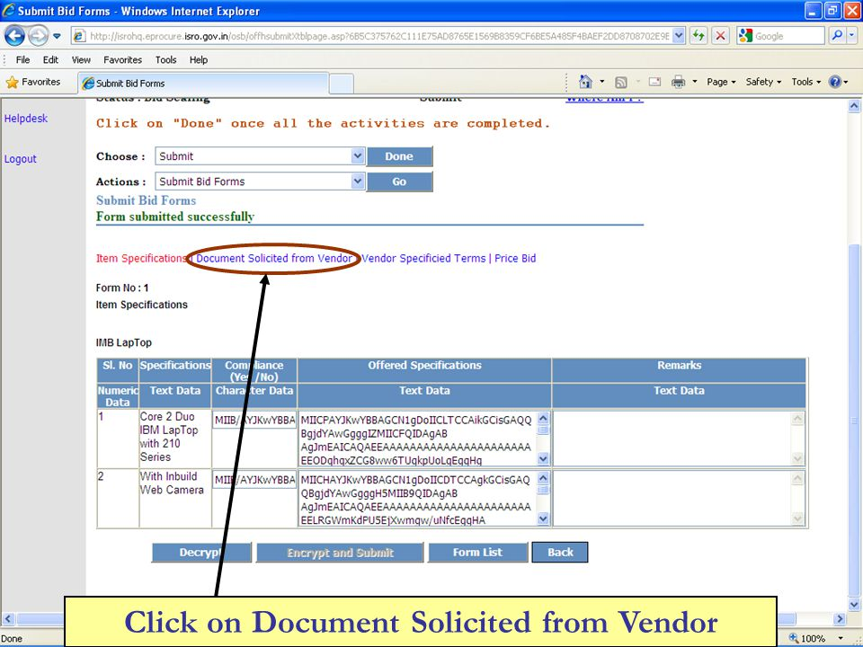 Click on Document Solicited from Vendor