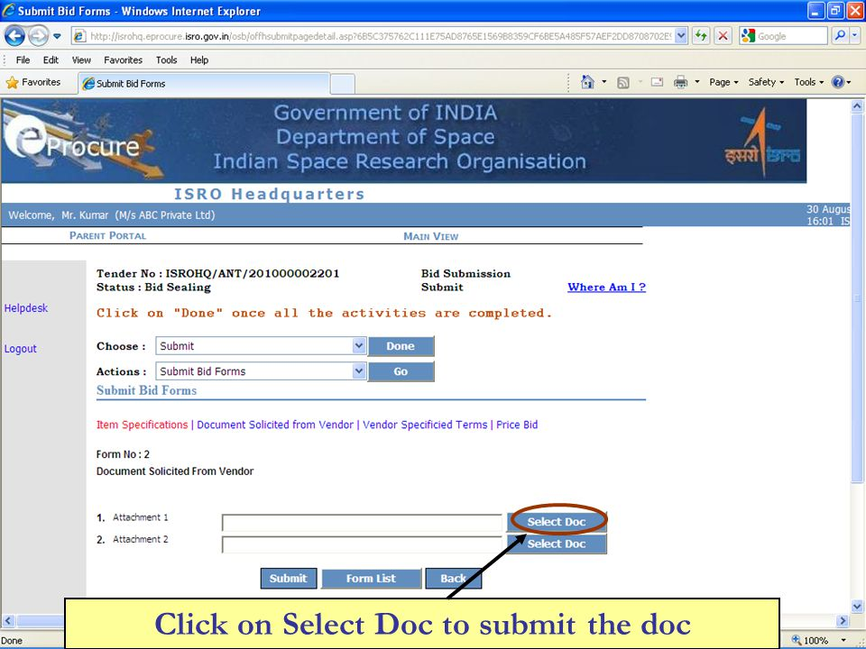 Click on Select Doc to submit the doc