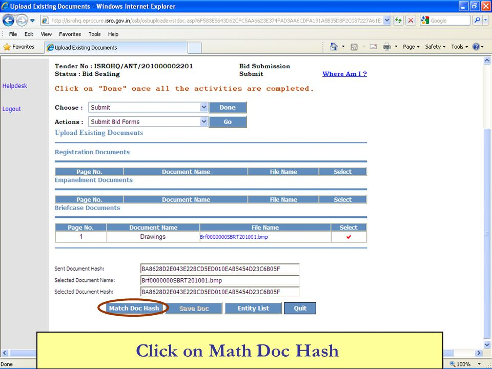 Click on Math Doc Hash