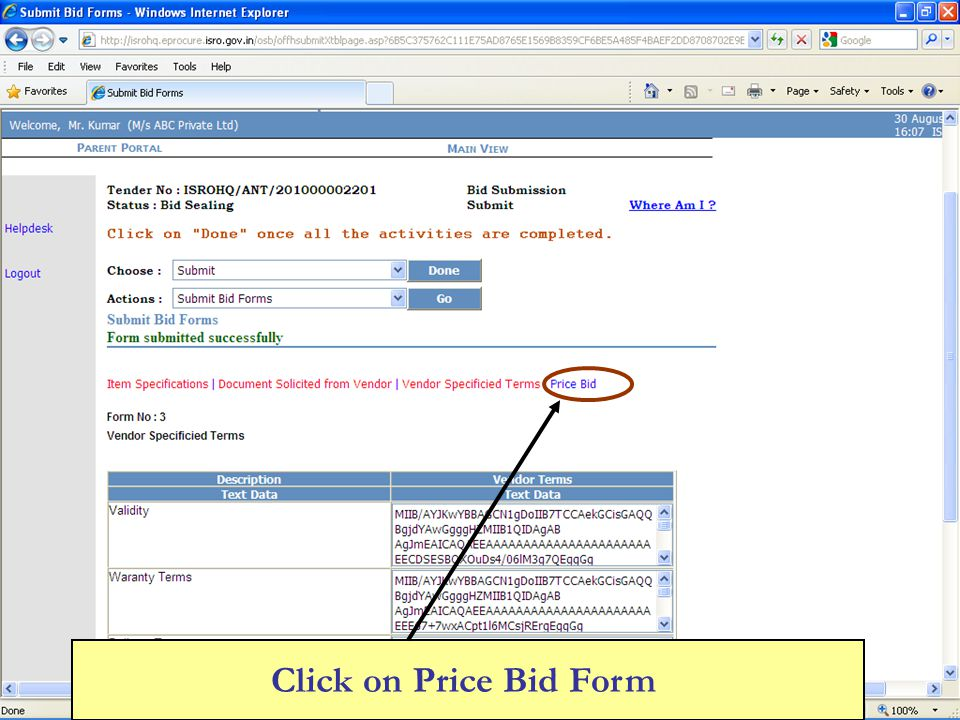 Click on Price Bid Form
