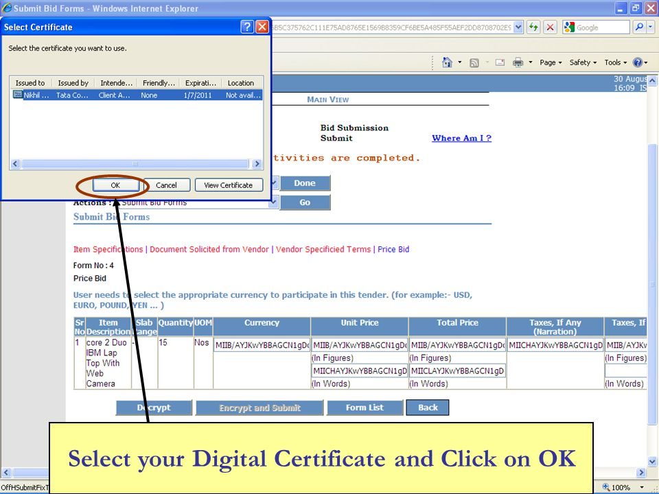 Select your Digital Certificate and Click on OK