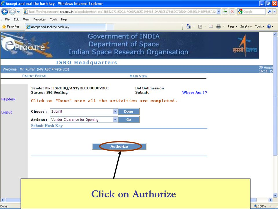 Click on Authorize