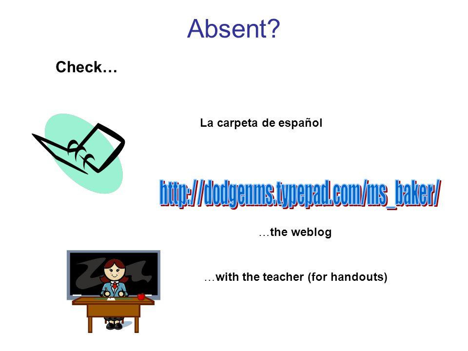 Absent Check… La carpeta de español …the weblog …with the teacher (for handouts)