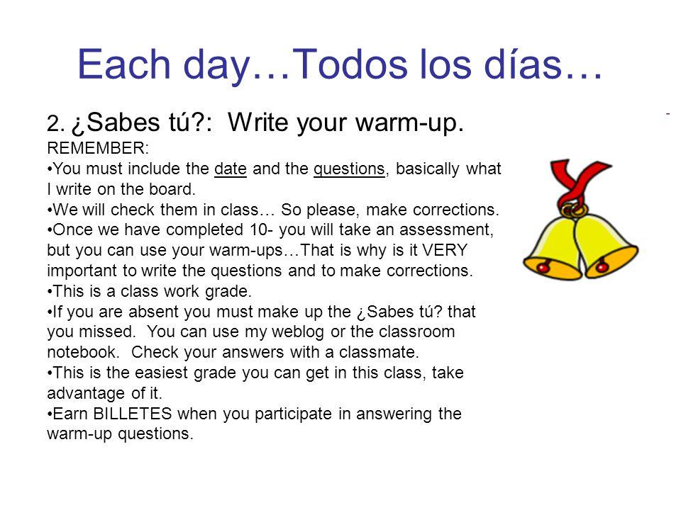 Each day…Todos los días… 2. ¿Sabes tú : Write your warm-up.