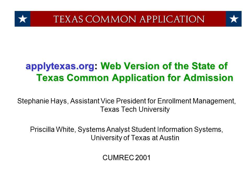 UT Austin % Web Apps for Admission 1997 15% 1998 28% 1999 38% 2000 52% 2001 62%
