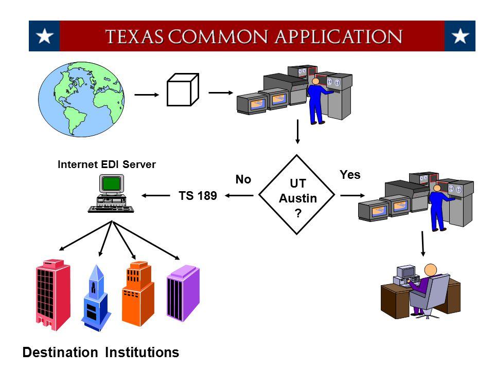 UT Austin ? Yes No TS 189 Internet EDI Server Destination Institutions