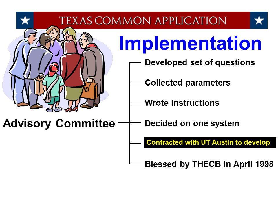 Advisory Committee Implementation Developed set of questions Collected parameters Wrote instructions Decided on one system Blessed by THECB in April 1998 Contracted with UT Austin to develop