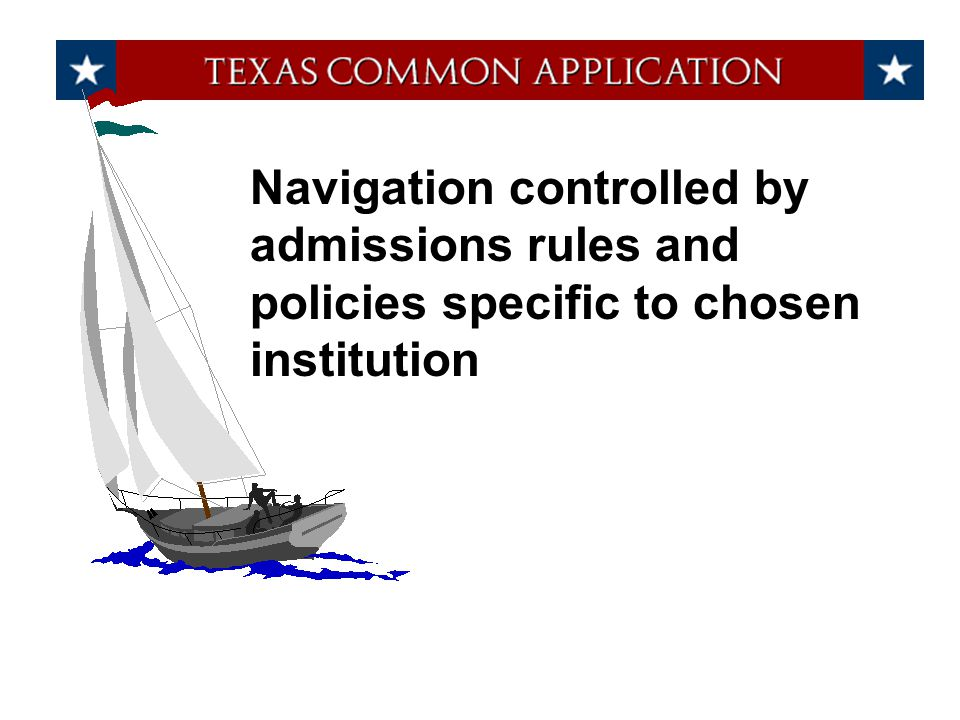 Navigation controlled by admissions rules and policies specific to chosen institution