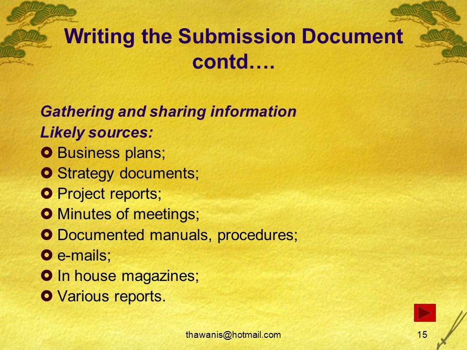 thawanis@hotmail.com15 Writing the Submission Document contd….
