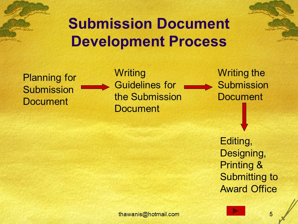 thawanis@hotmail.com5 Submission Document Development Process Planning for Submission Document Writing Guidelines for the Submission Document Editing, Designing, Printing & Submitting to Award Office Writing the Submission Document