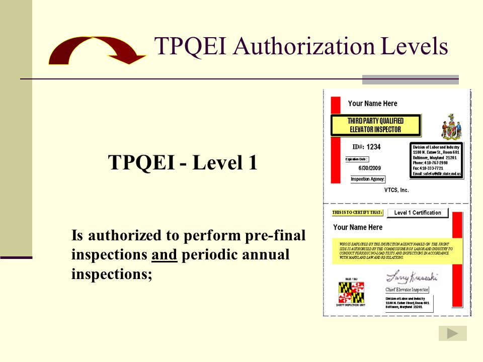 TPQEI Authorization Levels TPQEI - Level 1 Is authorized to perform pre-final inspections and periodic annual inspections;