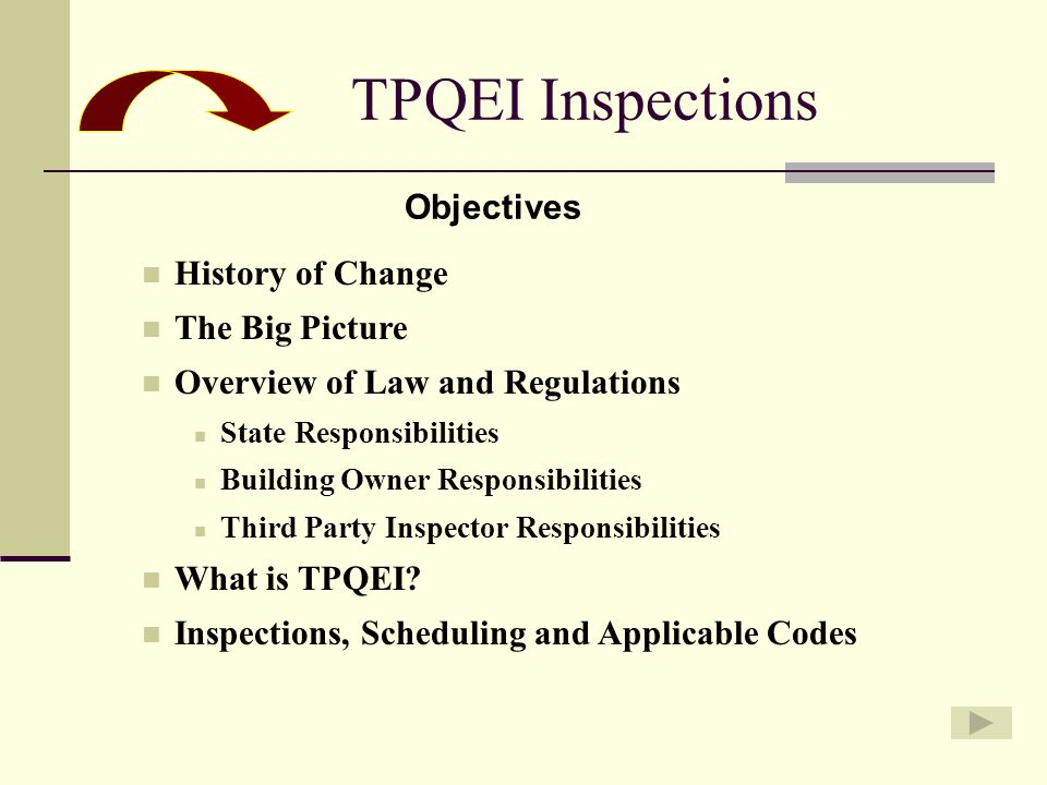 TPQEI Inspections Objectives History of Change The Big Picture Overview of Law and Regulations State Responsibilities Building Owner Responsibilities Third Party Inspector Responsibilities What is TPQEI.