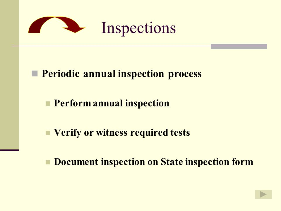 Periodic annual inspection process Perform annual inspection Verify or witness required tests Document inspection on State inspection form Inspections