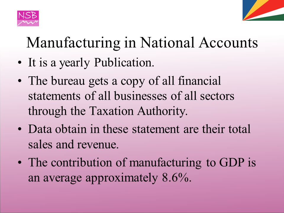 Manufacturing in National Accounts It is a yearly Publication.