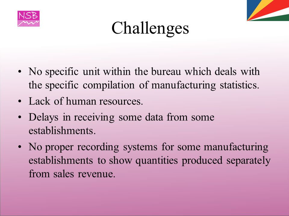 Challenges No specific unit within the bureau which deals with the specific compilation of manufacturing statistics.