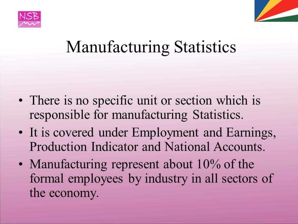 Manufacturing Statistics There is no specific unit or section which is responsible for manufacturing Statistics.