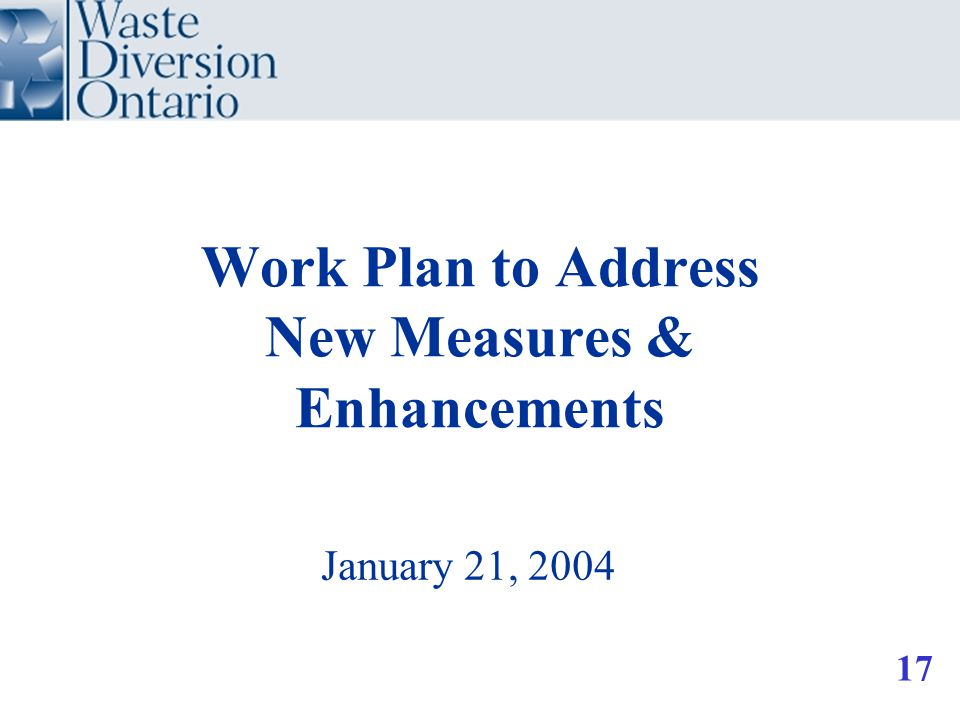 Work Plan to Address New Measures & Enhancements January 21, 2004 17