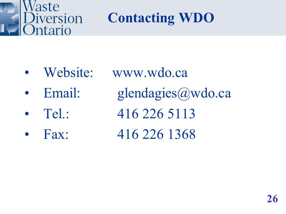 Website: www.wdo.ca Email: glendagies@wdo.ca Tel.: 416 226 5113 Fax: 416 226 1368 Contacting WDO 26