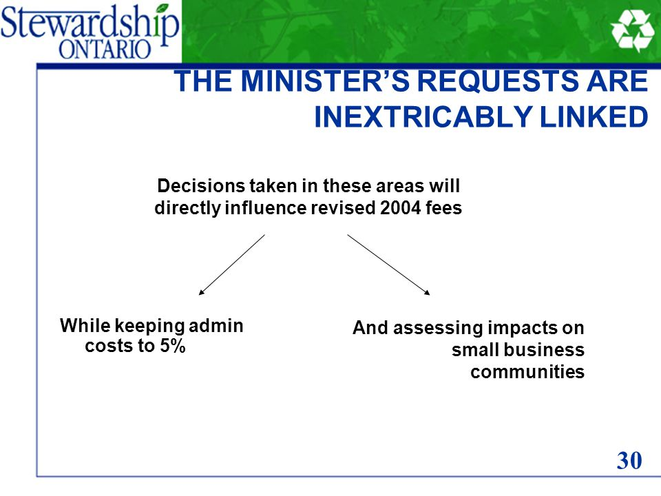 THE MINISTER'S REQUESTS ARE INEXTRICABLY LINKED While keeping admin costs to 5% And assessing impacts on small business communities Decisions taken in these areas will directly influence revised 2004 fees 30