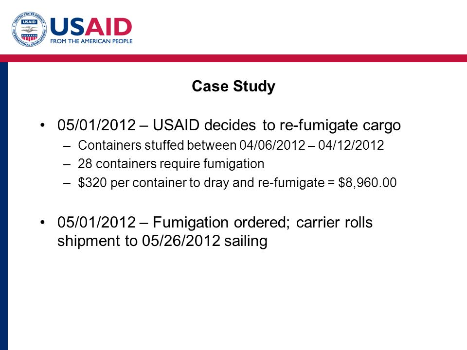 Case Study 05/01/2012 – USAID decides to re-fumigate cargo –Containers stuffed between 04/06/2012 – 04/12/2012 –28 containers require fumigation –$320 per container to dray and re-fumigate = $8,960.00 05/01/2012 – Fumigation ordered; carrier rolls shipment to 05/26/2012 sailing
