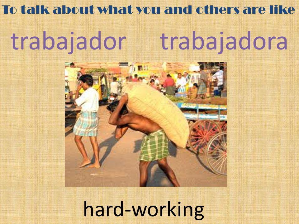 To talk about what you and others are like trabajadortrabajadora hard-working