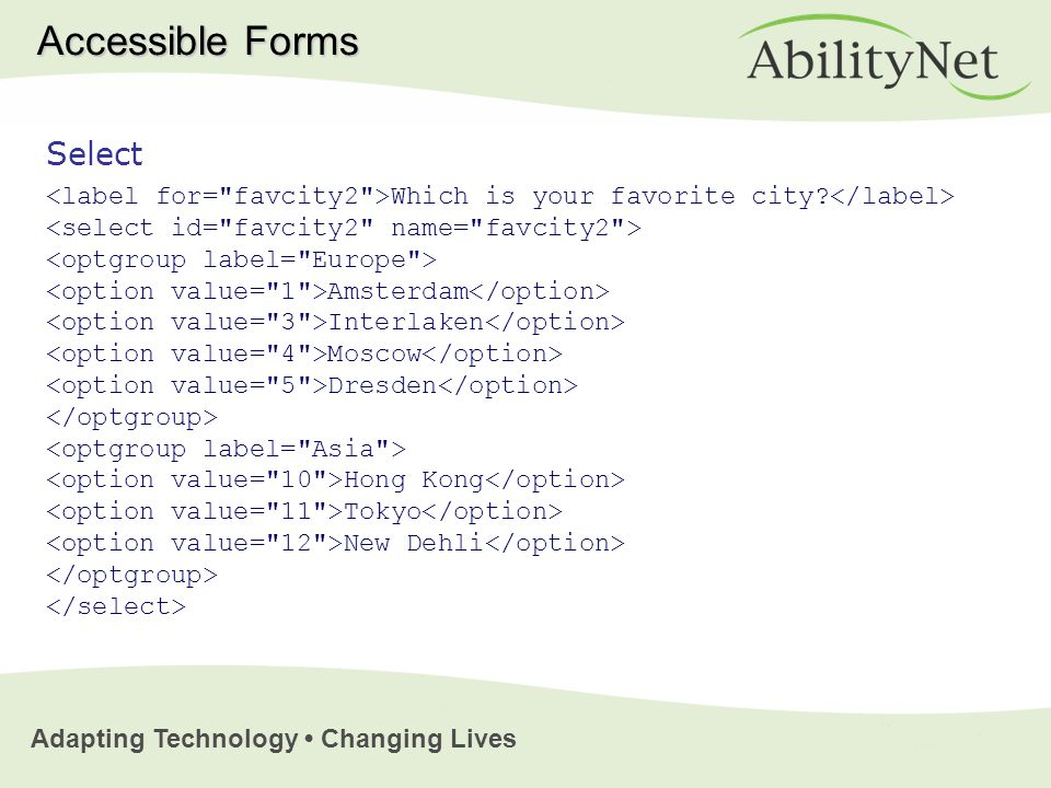 Adapting Technology Changing Lives Select Which is your favorite city.