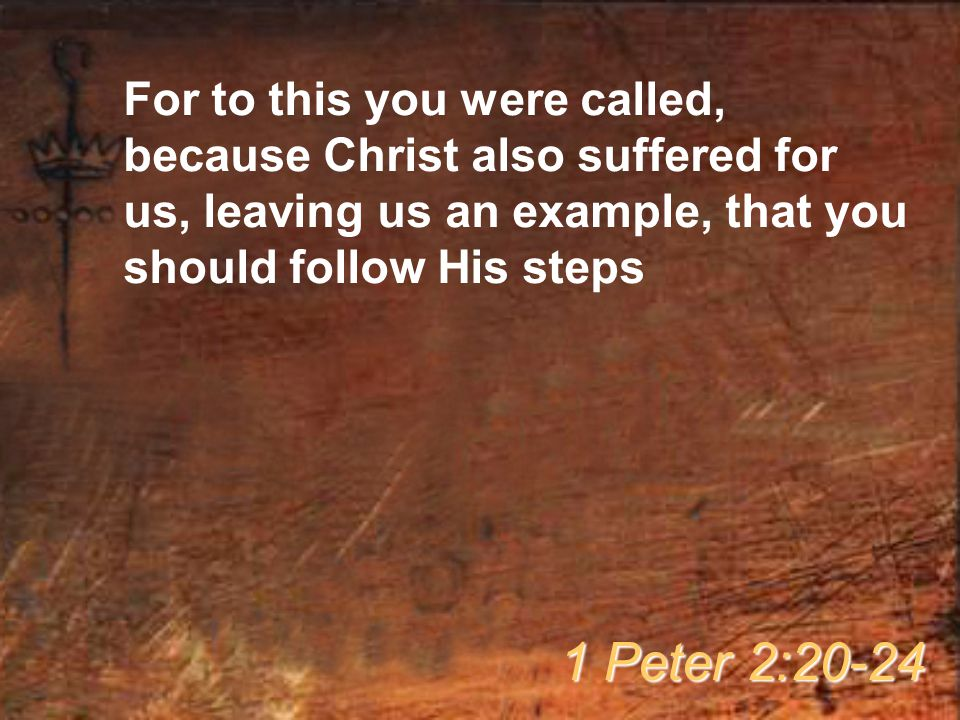 For to this you were called, because Christ also suffered for us, leaving us an example, that you should follow His steps 1 Peter 2:20-24