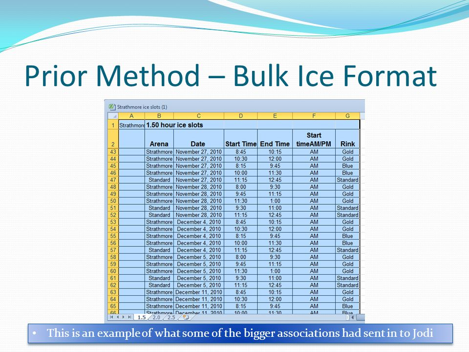Prior Method – Bulk Ice Format This is an example of what some of the bigger associations had sent in to Jodi
