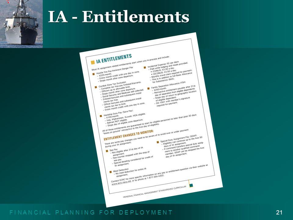 """F I N A N C I A L P L A N N I N G F O R D E P L O Y M E N T21 IA - Entitlements """"IA Entitlements"""" handout"""