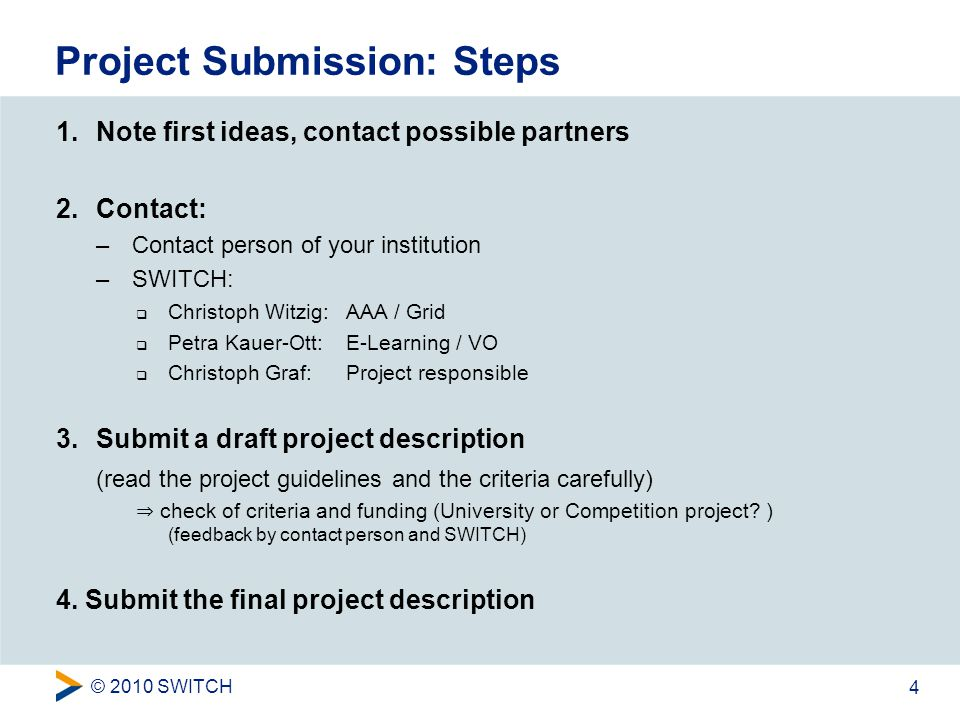 © 2010 SWITCH 4 Project Submission: Steps 1.Note first ideas, contact possible partners 2.