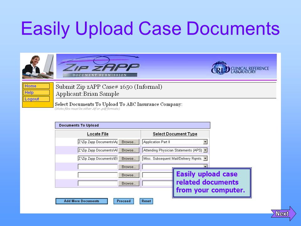 Easily Upload Case Documents Easily upload case related documents from your computer.