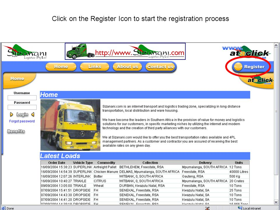 Click on the Register Icon to start the registration process