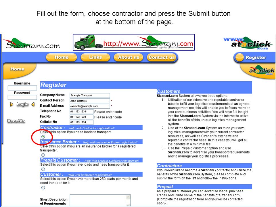 Fill out the form, choose contractor and press the Submit button at the bottom of the page.