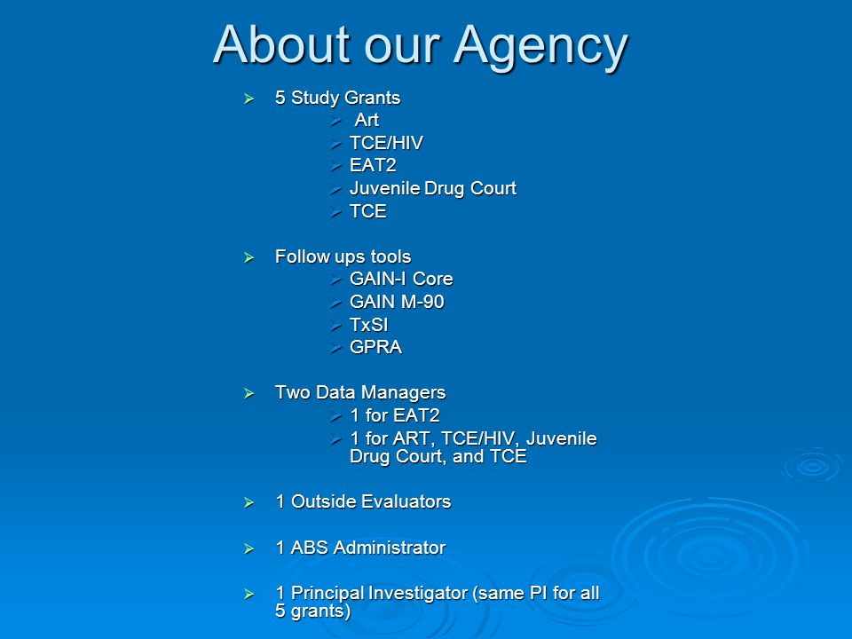 About our Agency  5 Study Grants  Art  TCE/HIV  EAT2  Juvenile Drug Court  TCE  Follow ups tools  GAIN-I Core  GAIN M-90  TxSI  GPRA  Two Data Managers  1 for EAT2  1 for ART, TCE/HIV, Juvenile Drug Court, and TCE  1 Outside Evaluators  1 ABS Administrator  1 Principal Investigator (same PI for all 5 grants)