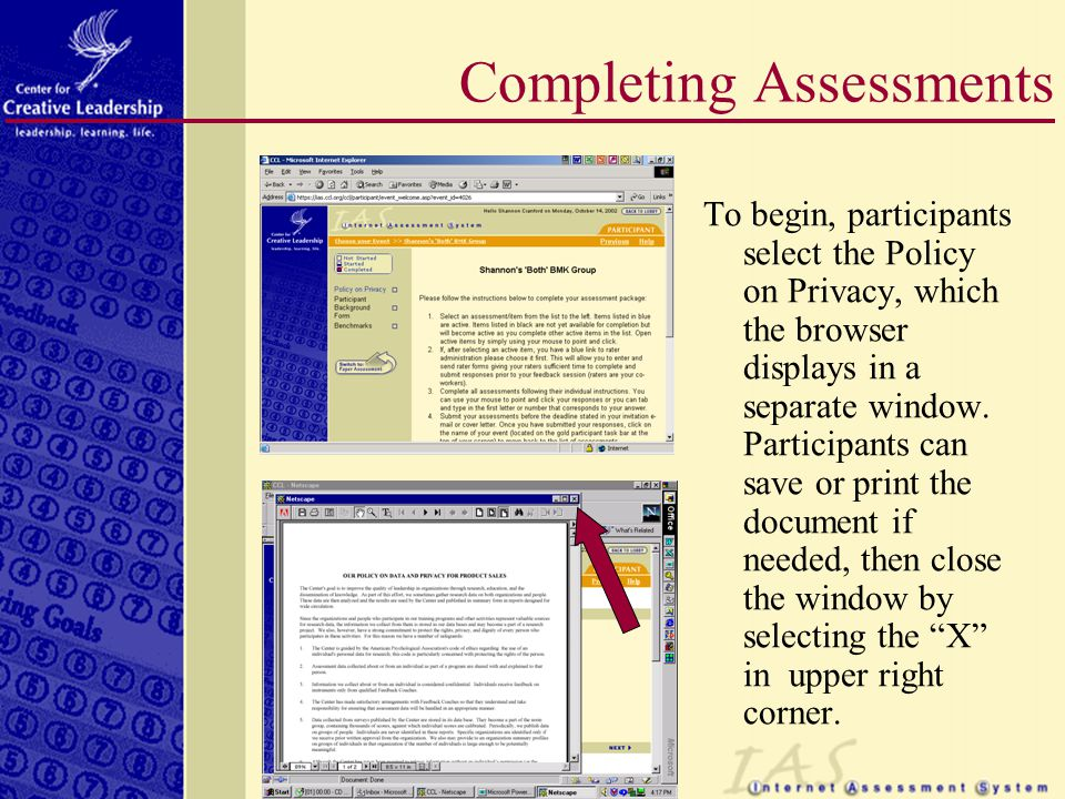 To begin, participants select the Policy on Privacy, which the browser displays in a separate window.