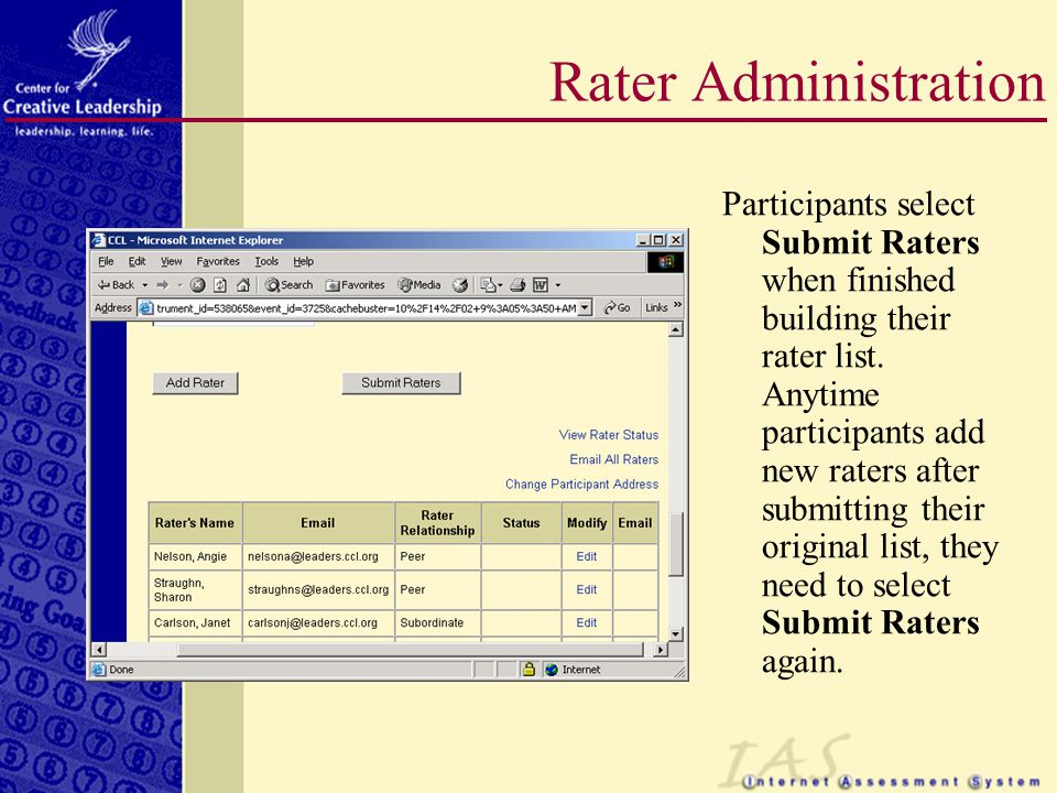 Participants select Submit Raters when finished building their rater list.