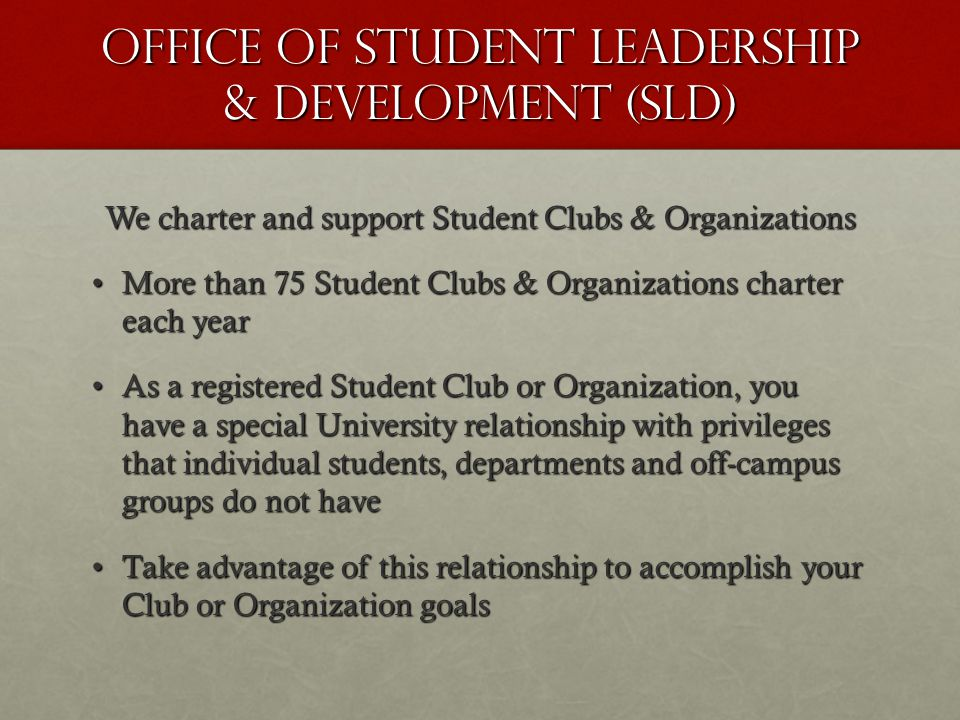 Planning Events Off-Campus When your organization decides to host any kind of event off-campus : 1) 1)Fill out an Event Planning Form located under the forms and documents section, www.csustan.edu/sld and submit to the SLD office.www.csustan.edu/sld 2) 2)An R25 reservation is not needed.