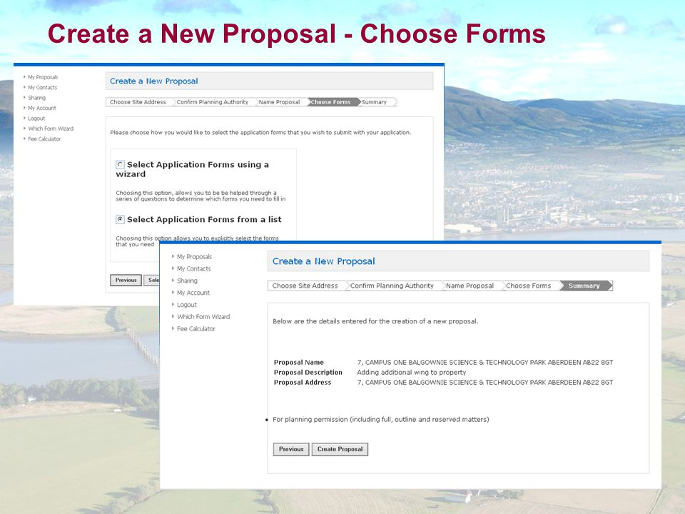 Create a New Proposal - Choose Forms